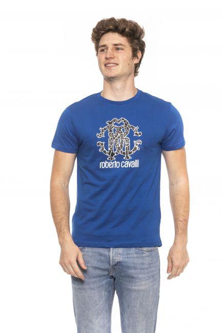 T-Shirt Roberto Cavalli Beachwear Uomo Blu HSH00T_03030Bluette