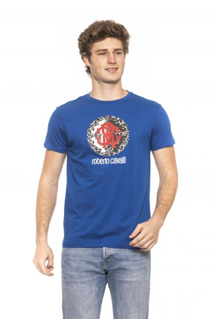 T-Shirt Roberto Cavalli Beachwear Uomo Blu HSH01T_03030Bluette