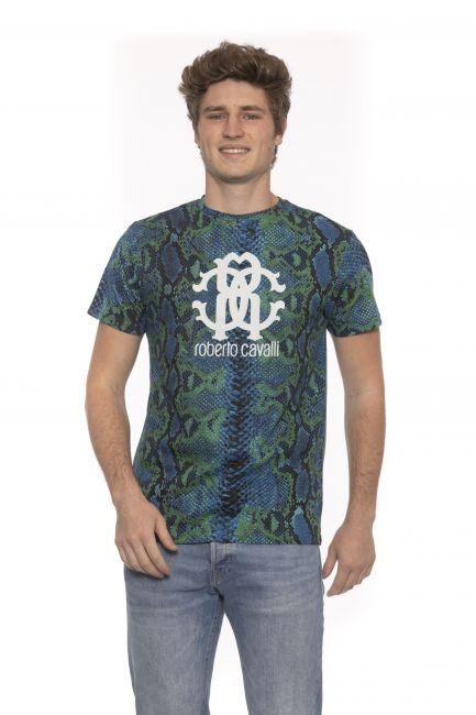 T-Shirt Roberto Cavalli Beachwear Uomo Verde HSH02T_04008PETROLIO