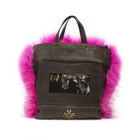 Woman's Bag Mr&Mrs Italy BG083E_3393ArmyAlb.Hibiscus