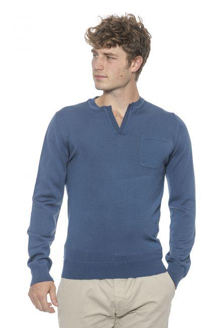 Men's henley neck sweater Alpha Studio AU1018U_7011FRENCHNAVY