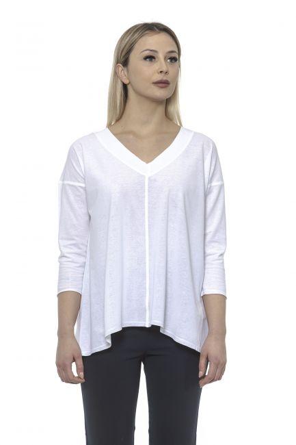 Women's V-neck Sweater Alpha Studio AD8573AE_9002BIANCO