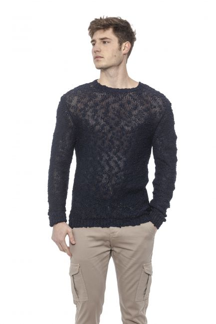 Men's Perforated Crewneck Sweater Alpha Studio AU7070C_4050BLUNAVY