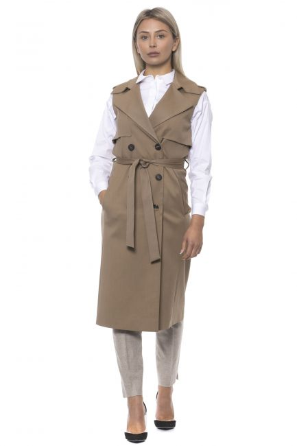 Double-breasted Trench Vest Peserico S03706A05200_849BEIGE