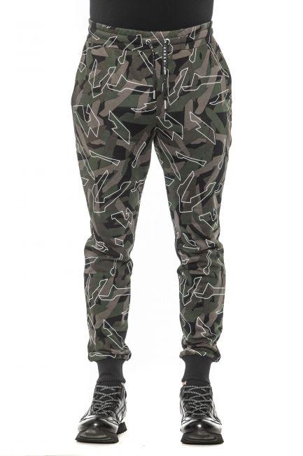 Pantalone Les Hommes Uomo Verde URF880PUF855_3101Kaki-White