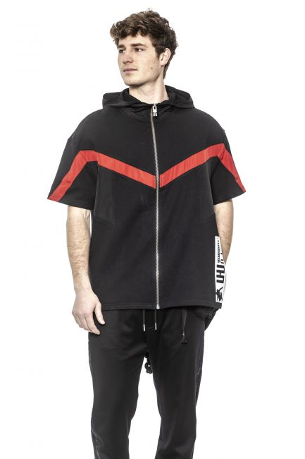 Zip-up Hooded Anorack Les Hommes URG878AUG850F_9051Black-Red-White