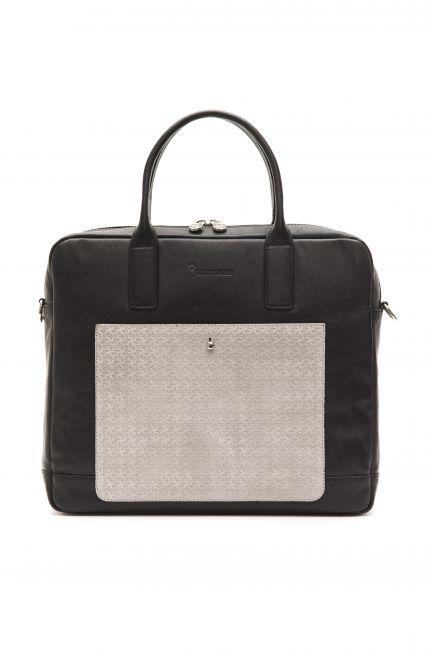 Leather Business Bag Billionaire BLC5040640-039CV_BlackGrey