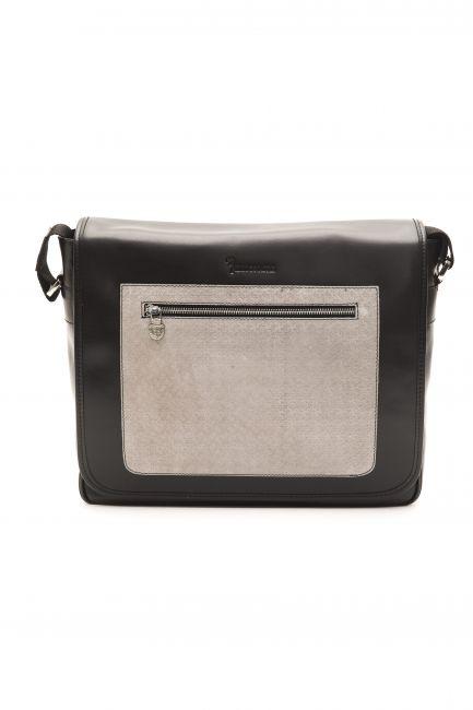 Leather Messenger Bag Billionaire BLC50406041A-034CV_BlackGrey