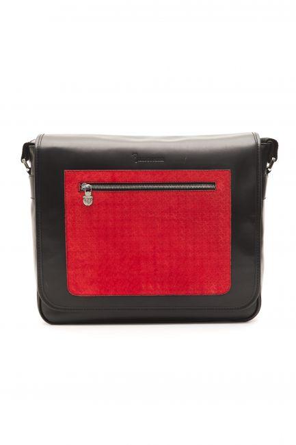 Leather Messenger Bag Billionaire BLC50406041A-034CV_BlackRed