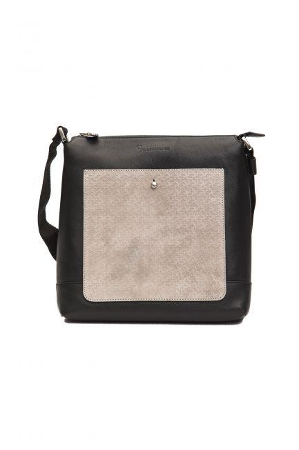 Leather Messenger Bag Billionaire BLC5040646-0037CV_BlackGrey