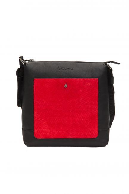 Leather Messenger Bag Billionaire BLC5040646-0037CV_BlackRed