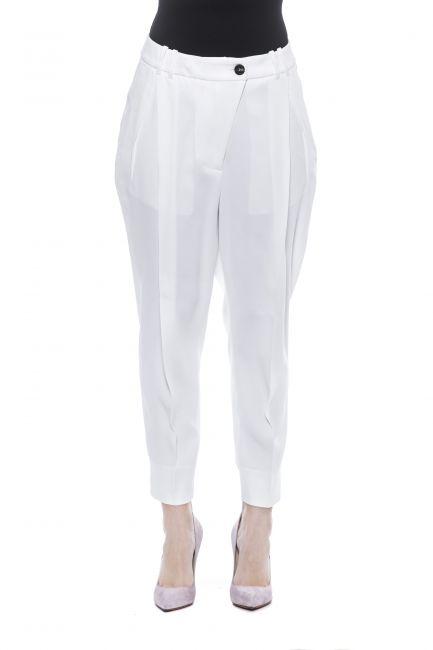 Soft And Fluid Viscose Gabardine Trousers Peserico 21203_D03BiancoWhite