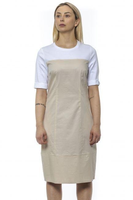 Two-material Midi Dress Peserico 21318_44BBeige