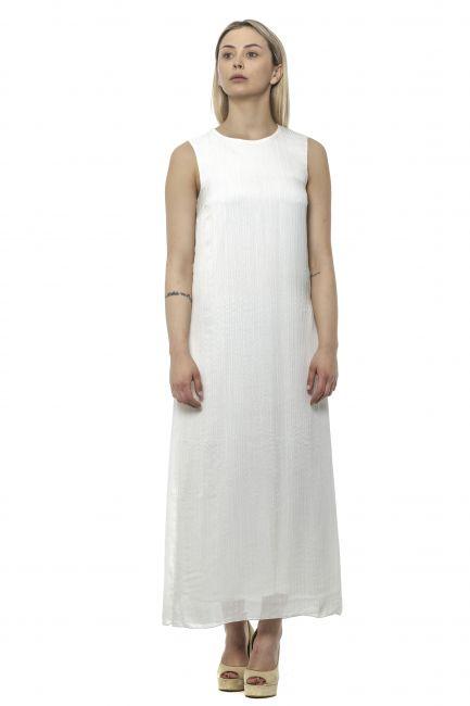Long Double Layer Dress Peserico 21320_001BIANCO