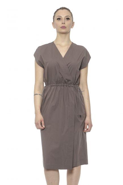 Flap Sleeve Midi Dress Peserico 21326_058Marrone