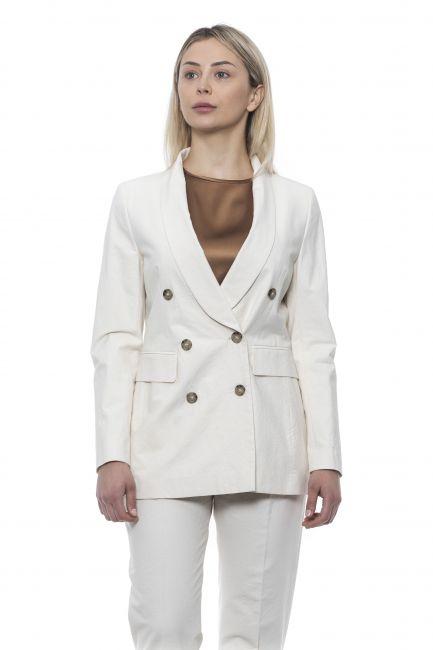 Double Breasted Blazer Jacket Peserico 21331_904BIANCO