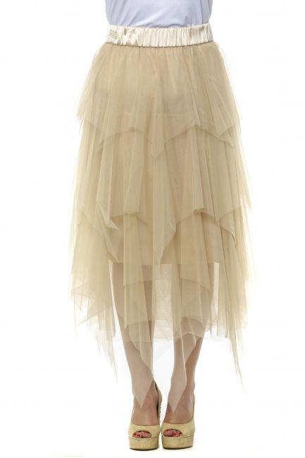 Knee Skirt Peserico 21349_44ABEIGE