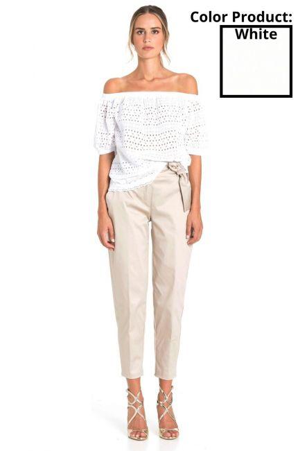 Trousers Woman Cristina Gavioli CP1003 Bianco