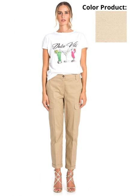 Trousers Woman Cristina Gavioli CP1012 Sabbia