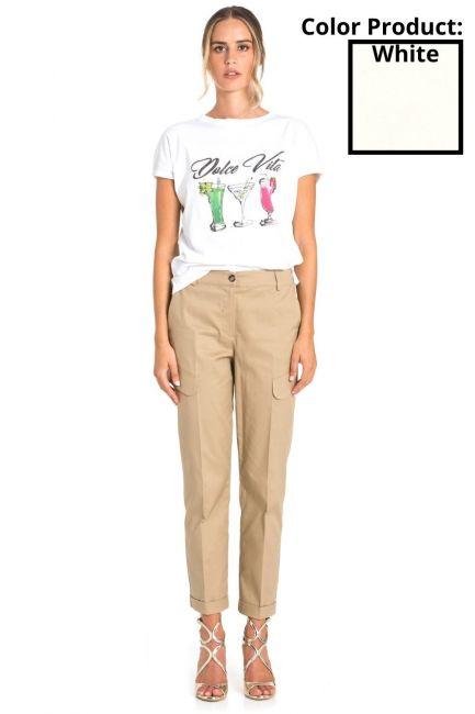 Pantaloni Donna Cristina Gavioli 1 Bianco