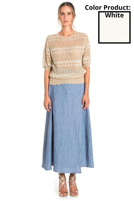 Skirt Woman Cristina Gavioli CP1075 Naturale